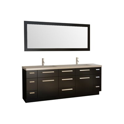 Arnette 84 Double Bathroom Vanity Set with Mirror Base Finish: Espresso