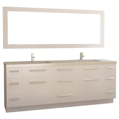 Arnette 84 Double Bathroom Vanity Set with Mirror Base Finish: White