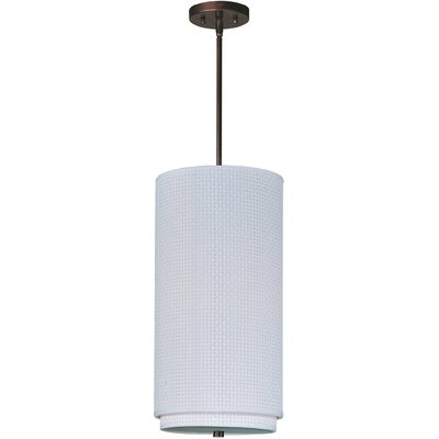 Denning 1-Light Incandescent Mini Pendant Shade: Crimson, Finish: Satin Nickel