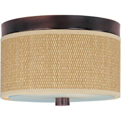 Denning 2-Light Flush Mount Finish / Size / Shade Material: Oil Rubbed Bronze / 10 / Grass Cloth