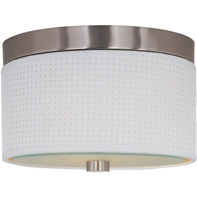 Dionysius 2-Light Flush Mount Finish / Size / Shade Material: Satin Nickel / 14 / White Weave