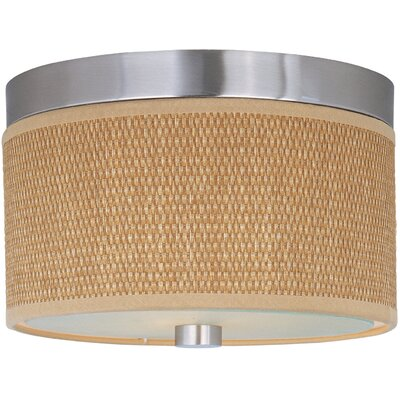 Dionysius 2-Light Flush Mount Finish / Size / Shade Material: Satin Nickel / 14 / Grass Cloth