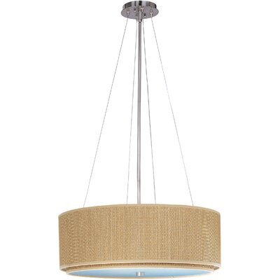 Denning 4-Light Drum Pendant Finish / Size / Shade: Satin Nickel / 9 H x 22.5 W / Grass Cloth