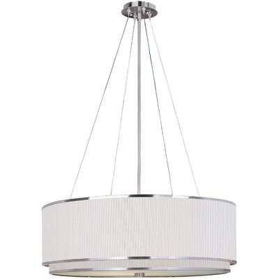 Denning 4-Light Drum Pendant Finish / Size / Shade: Satin Nickel / 9 H x 22.5 W / White Pleat