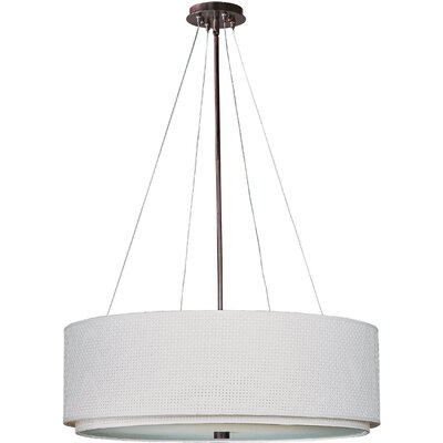 Denning 4-Light Drum Pendant Finish / Size / Shade: Oil Rubbed Bronze / 9 H x 22.5 W / White Weave
