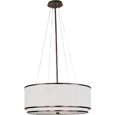 Denning 4-Light Drum Pendant Finish / Size / Shade: Oil Rubbed Bronze / 9 H x 22.5 W / White Pleat