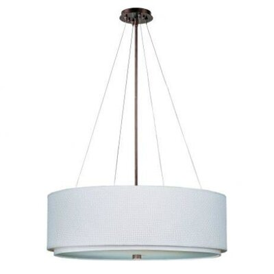 Denning 4-Light Drum Pendant Finish / Size / Shade: Oil Rubbed Bronze / 10 H x 29 W / White Weave
