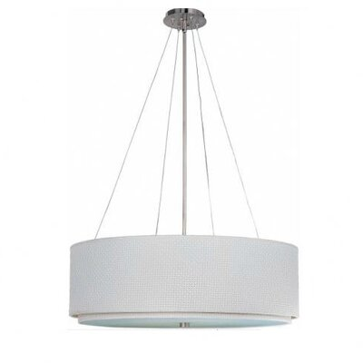 Denning 4-Light Drum Pendant Finish / Size / Shade: Satin Nickel / 10 H x 29 W / White Weave