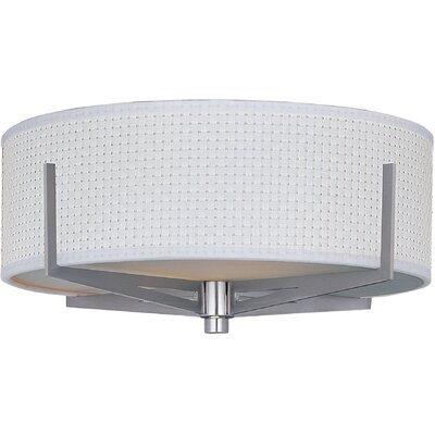 Denning 2-Light Incandescent Flush Mount Shade Color: White Weave, Finish: Satin Nickel