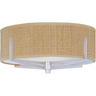 Denning 2-Light Incandescent Flush Mount Shade Color: Grass Cloth, Color: Satin Nickel