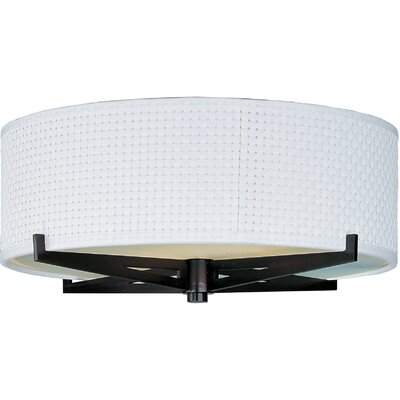 Denning 2-Light Incandescent Flush Mount Finish: Oil Rubbed Bronze, Shade Color: Grass Cloth