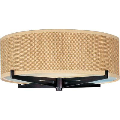 Denning 2-Light Incandescent Flush Mount Color: Oil Rubbed Bronze, Shade Color: Grass Cloth