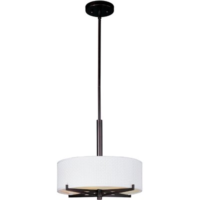 Denning 3-Light Drum Pendant Finish / Size / Shade: Oil Rubbed Bronze / 5.25 H x 16 W / White Weave
