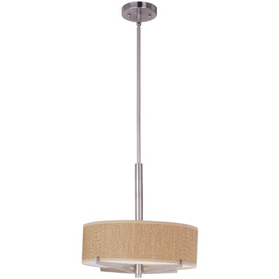 Denning 3-Light Drum Pendant Finish / Size / Shade: Satin Nickel / 5.25 H x 16 W / Grass Cloth