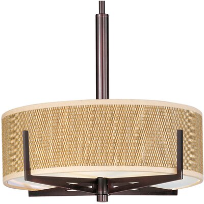 Denning 3-Light Drum Pendant Finish / Size / Shade: Oil Rubbed Bronze / 5.25 H x 16 W / Grass Cloth