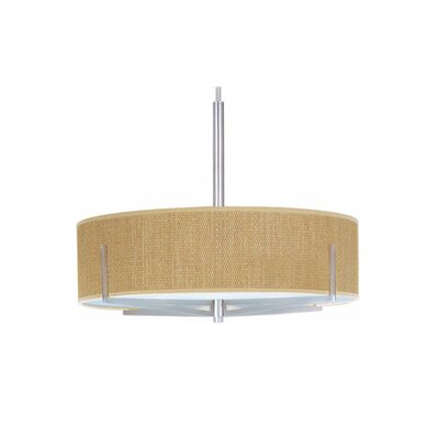 Denning 3-Light Drum Pendant Color / Size / Shade: Satin Nickel / 7 H x 26 W / Grass Cloth