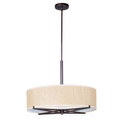 Denning 3-Light Drum Pendant Finish / Size / Shade: Oil Rubbed Bronze / 7 H x 26 W / Grass Cloth