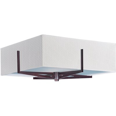 Denning 2-Light Glass Shade Flush Mount Shade Color: White Weave, Finish: Oil Rubbed Bronze