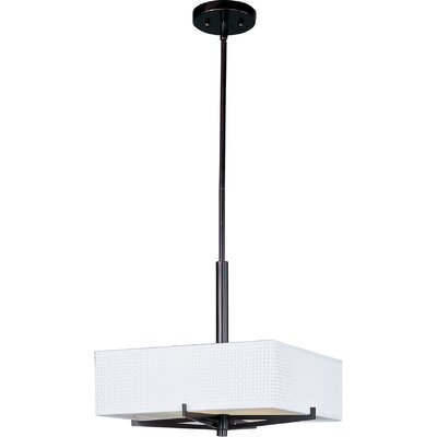 Dionysius 3-Light Geometric Pendant Finish / Width / Shade: Oil Rubbed Bronze / 5.25 / White Weave