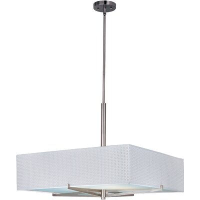 Denning 3-Light Square/Rectangular Shade Geometric Pendant Finish / Width / Shade: Oil Rubbed Bronze / 7 / White Weave