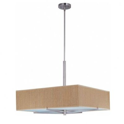 Denning 3-Light Square/Rectangular Shade Geometric Pendant Color / Width / Shade: Satin Nickel / 7 / Grass Cloth