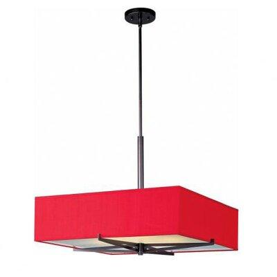 Denning 3-Light Square/Rectangular Shade Geometric Pendant Finish / Width / Shade: Oil Rubbed Bronze / 7 / Crimson