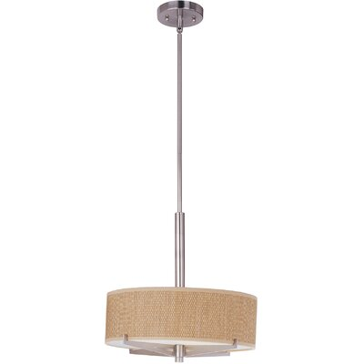 Denning 3-Light Fluorescent Drum Pendant Color / Width / Shade: Satin Nickel / 5.25 / Grass Cloth