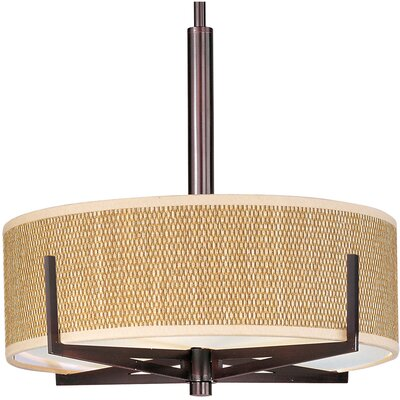 Denning 3-Light Fluorescent Drum Pendant Color / Width / Shade: Oil Rubbed Bronze / 5.25 / Grass Cloth