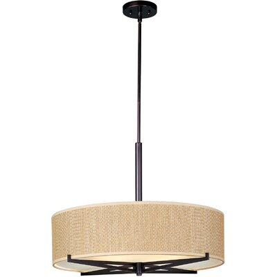 Denning 3-Light Fluorescent Drum Pendant Color / Width / Shade: Oil Rubbed Bronze / 7 / Grass Cloth