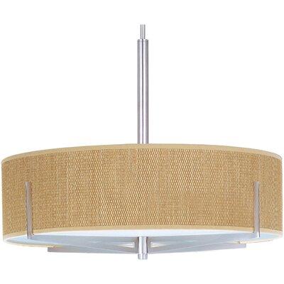 Denning 3-Light Fluorescent Drum Pendant Color / Width / Shade: Satin Nickel / 7 / Grass Cloth