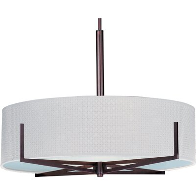 Denning 3-Light Fluorescent Drum Pendant Finish / Width / Shade: Oil Rubbed Bronze / 7 / White Weave