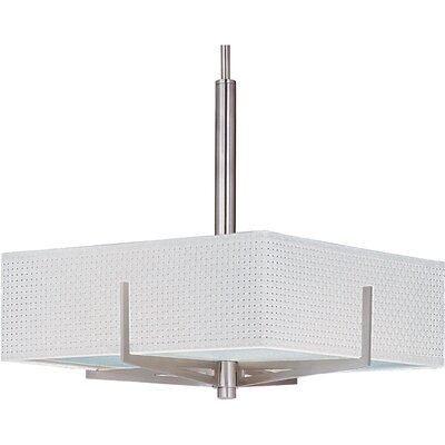 Denning 3-Light Geometric Pendant Finish / Size / Shade: Satin Nickel / 5.25 H x 16 W / White Weave