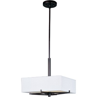 Dionysius 3-Light Geometric Pendant Finish / Size / Shade: Oil Rubbed Bronze / 5.25 H x 16 W / White Weave