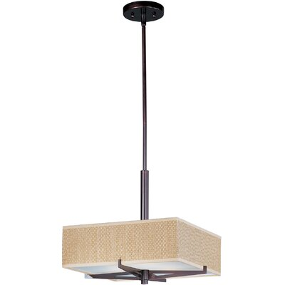 Denning 3-Light Geometric Pendant Finish / Size / Shade: Oil Rubbed Bronze / 5.25 H x 16 W / Grass Cloth