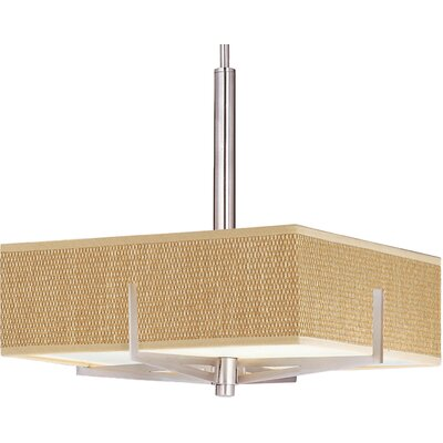 Denning 3-Light Geometric Pendant Finish / Size / Shade: Satin Nickel / 5.25 H x 16 W / Grass Cloth