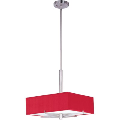Denning 3-Light Geometric Pendant Finish / Size / Shade: Satin Nickel / 5.25 H x 16 W / Crimson
