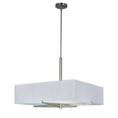 Denning 3-Light Geometric Pendant Finish / Size / Shade: Satin Nickel / 7 H x 26 W / White Weave