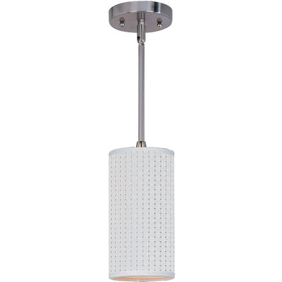 Denning 1-Light Cylindrical Glass Shade Mini Pendant Finish: Satin Nickel, Shade: Grass Cloth