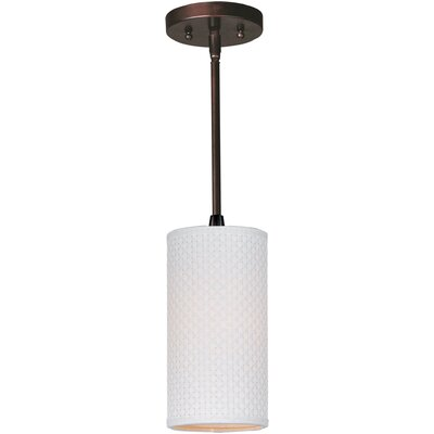 Denning 1-Light Cylindrical Glass Shade Mini Pendant Shade: Grass Cloth, Finish: Satin Nickel