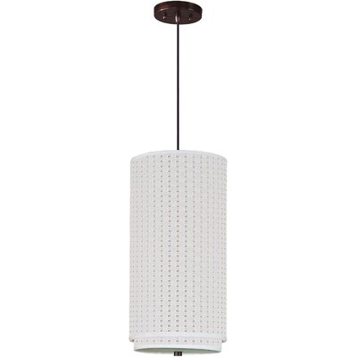 Denning 1-Light Glass Cylindrical Shade Mini Pendant Color: Oil Rubbed Bronze, Shade: Grass Cloth