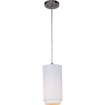 Denning 1-Light Glass Cylindrical Shade Mini Pendant Shade: White Weave, Color: Satin Nickel