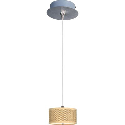 Denning 1-Light Cylindrical Shade Mini Pendant Shade Color: Grass Cloth, Size: 3.75 H