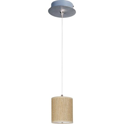 Denning 1-Light Cylindrical Shade Mini Pendant Shade Color: Grass Cloth, Size: 7 H