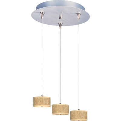Denning 3-Light Cylindrical Shade Kitchen Island Pendant Shade Color: Grass Cloth, Size: 3.75 H