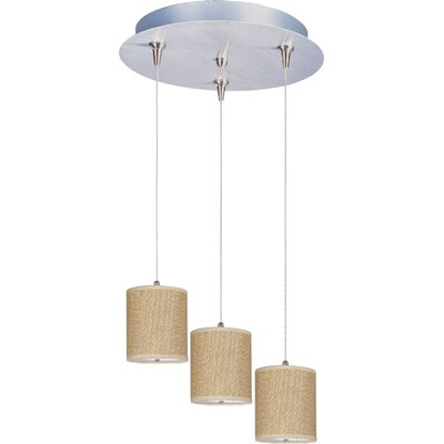 Denning 3-Light Cylindrical Shade Kitchen Island Pendant Shade Color: Grass Cloth, Size: 7 H