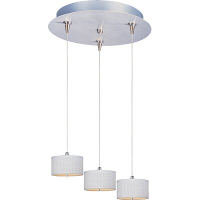 Denning 3-Light Cylindrical Shade Kitchen Island Pendant Shade Color: White Weave, Size: 3.75 H