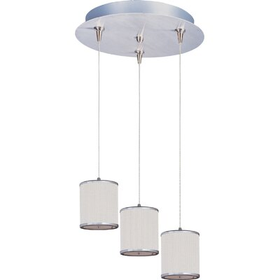 Denning 3-Light Cylindrical Shade Kitchen Island Pendant Shade Color: White Pleat, Size: 7 H