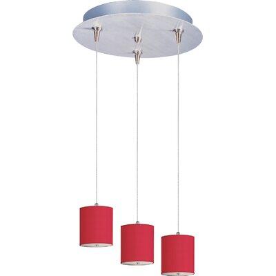 Denning 3-Light Cylindrical Shade Kitchen Island Pendant Shade Color: Crimson Silk, Size: 7 H