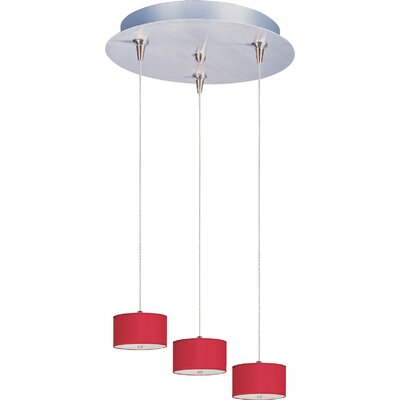 Denning 3-Light Cylindrical Shade Kitchen Island Pendant Shade Color: Crimson Silk, Size: 3.75 H