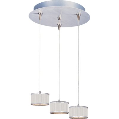 Denning 3-Light Cylindrical Shade Kitchen Island Pendant Shade Color: White Pleat, Size: 3.75 H